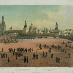 The Basil Cathedral at the Red Square in Moscow, Ca 1848 by Philippe Benoist