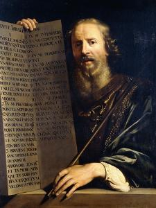 Moses Holding the Ten Commandments by Philippe De Champaigne