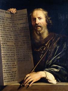 Moses Holding the Ten Commandments by Philippe De Champaigne