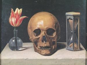 Vanitas Still Life with a Tulip, Skull and Hour-Glass by Philippe De Champaigne