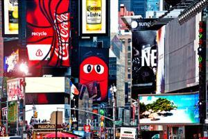 Advertising on Times Square, Manhattan, New York City, US, White Frame, Full Size Photography by Philippe Hugonnard