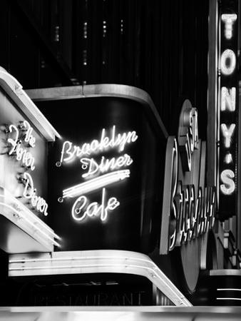 American Brooklyn Diner Cafe at Times Square by Night, Manhattan, NYC, USA
