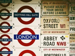 Antique Enamelled Signs - Subway Station Signs - Wall Signs - Notting Hill - London - UK - England by Philippe Hugonnard