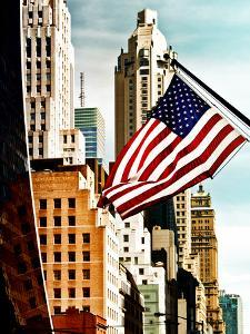 Architecture and Buildings, Skyscrapers View, American Flag, Midtown Manhattan, NYC, US, USA by Philippe Hugonnard