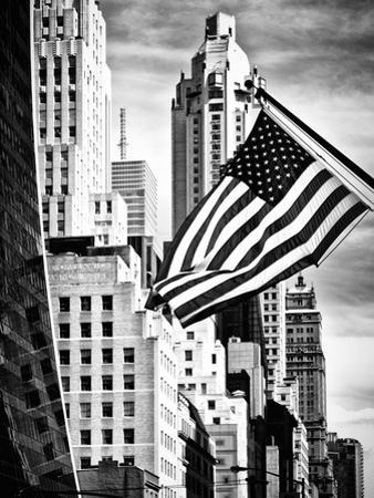Architecture and Buildings, Skyscrapers View, American Flag, Midtown Manhattan, NYC, USA by Philippe Hugonnard