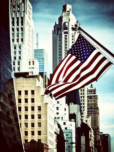 Architecture and Buildings, Skyscrapers View, American Flag, Midtown Manhattan, NYC, Vintage Colors by Philippe Hugonnard