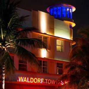 Art Deco Architecture at Night - Ocean Drive - Miami Beach - Florida by Philippe Hugonnard