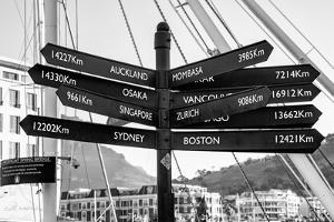 Awesome South Africa Collection B&W - Direction Sign Cape Town II by Philippe Hugonnard