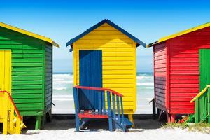 Awesome South Africa Collection - Colorful Beach Huts - Green & Yellow & Red by Philippe Hugonnard