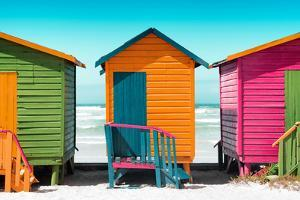 Awesome South Africa Collection - Colorful Beach Huts - Lime & Orange & Deep Pink by Philippe Hugonnard