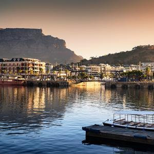 Awesome South Africa Collection Square - Cape Town Harbour and Table Mountain at Sunset by Philippe Hugonnard