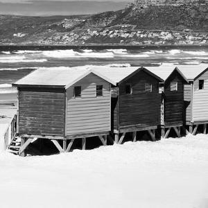 Awesome South Africa Collection Square - Colorful Beach Huts - Cape Town II B&W by Philippe Hugonnard