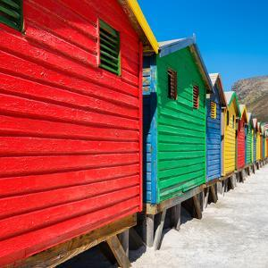 Awesome South Africa Collection Square - Colorful Beach Huts on Muizenberg II by Philippe Hugonnard