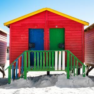 """Awesome South Africa Collection Square - Colorful Beach Huts """"Twelve & Thirteen"""" Red by Philippe Hugonnard"""
