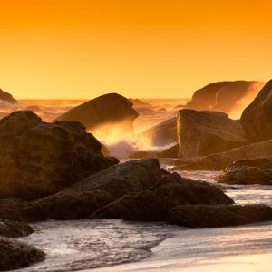 Awesome South Africa Collection Square - Power of the Ocean at Sunset IV by Philippe Hugonnard