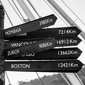 Awesome South Africa Collection Square - Sign Post Cape Town B&W by Philippe Hugonnard