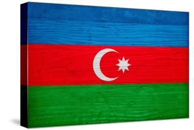 Azerbaijan Flag Design with Wood Patterning - Flags of the World Series