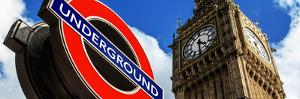 Big Ben and Westminster Station Underground - Subway Station Sign - City of London - UK - England by Philippe Hugonnard