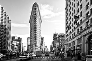 Black and White Photography Landscape of Flatiron Building and 5th Ave, Manhattan, NYC, White Frame by Philippe Hugonnard