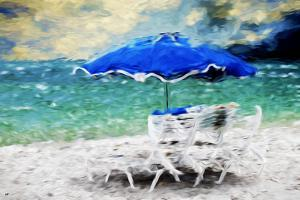 Blue Umbrella - In the Style of Oil Painting by Philippe Hugonnard