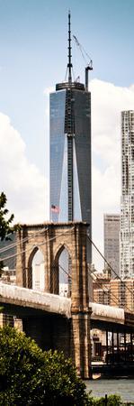 Brooklyn Bridge View and One World Trade Center, Modern Sepia, Manhattan, NYC by Philippe Hugonnard