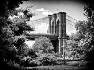 Brooklyn Bridge View of Brooklyn Park, B/W, Manhattan, New York, United States by Philippe Hugonnard