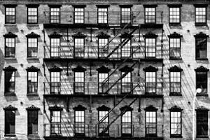 Building Facade in Red Brick, Stairway on Philadelphia Building, Pennsylvania, US, White Frame by Philippe Hugonnard