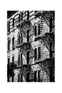 Building Facade New York with Fire Escapes, Manhattan, NYC, White Frame, Full Size Photography by Philippe Hugonnard