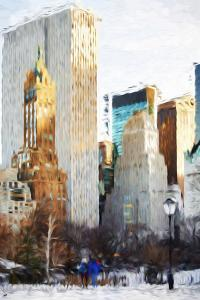 Central Park Buildings III - In the Style of Oil Painting by Philippe Hugonnard