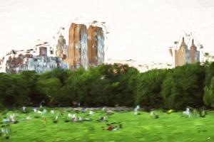 Central Park Sunday Afternoon - In the Style of Oil Painting by Philippe Hugonnard