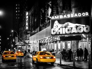 Chicago the Musical - Yellow Cabs in front of the Ambassador Theatre in Times Square by Night by Philippe Hugonnard