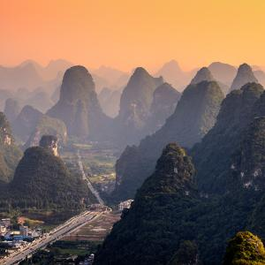 China 10MKm2 Collection - Karst Mountains at Sunset - Yangshuo by Philippe Hugonnard
