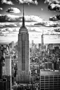 Cityscape, Empire State Building and One World Trade Center, Manhattan, NYC, White Frame by Philippe Hugonnard
