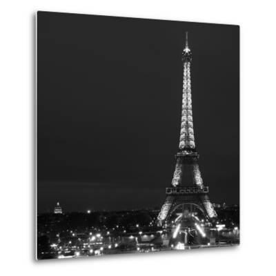 Cityscape Paris with Eiffel Tower at Night - Black and White Photography