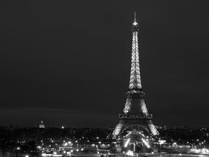 Cityscape Paris with Eiffel Tower at Night - Black and White Photography by Philippe Hugonnard