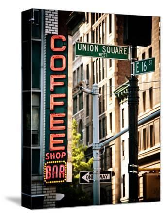 Coffee Shop Bar Sign, Union Square, Manhattan, New York, United States, Vintage Colors