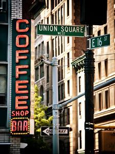 Coffee Shop Bar Sign, Union Square, Manhattan, New York, United States, Vintage Colors by Philippe Hugonnard