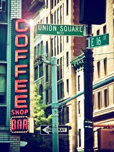 Coffee Shop Bar Sign, Union Square, Manhattan, New York, United States by Philippe Hugonnard