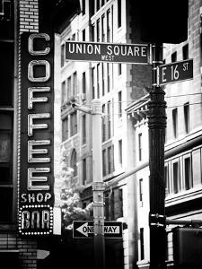 Coffee Shop Bar Sign, Union Square, Manhattan, New York, US, Old Black and White Photography by Philippe Hugonnard