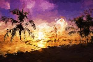Colorful Sunset II - In the Style of Oil Painting by Philippe Hugonnard