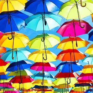 Colourful Umbrellas Square Collection - Blue Sky by Philippe Hugonnard