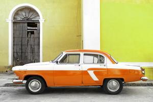 Cuba Fuerte Collection - American Classic Car White and Orange by Philippe Hugonnard
