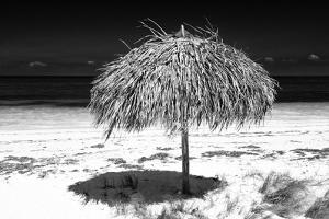 Cuba Fuerte Collection B&W - Tropical Beach Umbrella III by Philippe Hugonnard