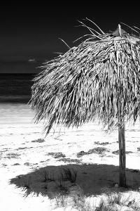 Cuba Fuerte Collection B&W - Tropical Beach Umbrella IV by Philippe Hugonnard