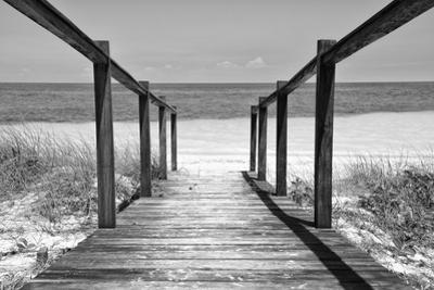 Cuba Fuerte Collection B&W - Wooden Pier on Tropical Beach II by Philippe Hugonnard