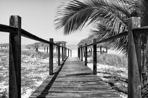 Cuba Fuerte Collection B&W - Wooden Pier on Tropical Beach VIII by Philippe Hugonnard