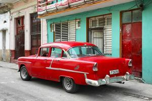 Cuba Fuerte Collection - Old Cuban Red Car by Philippe Hugonnard
