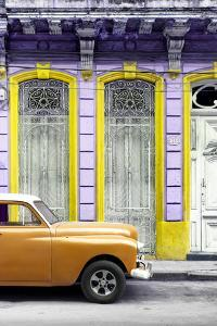 Cuba Fuerte Collection - Orange Vintage Car in Havana II by Philippe Hugonnard