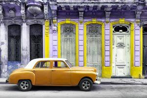 Cuba Fuerte Collection - Orange Vintage Car in Havana by Philippe Hugonnard