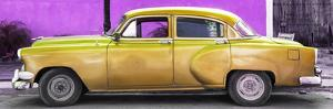 Cuba Fuerte Collection Panoramic - Beautiful Retro Golden Car by Philippe Hugonnard